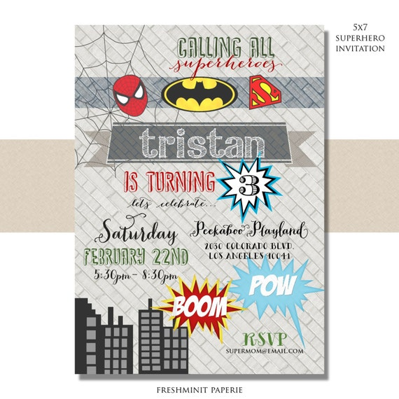 Superhero birthday  invitation - superhero invitation - superhero party - batman invitation - spiderman invitation