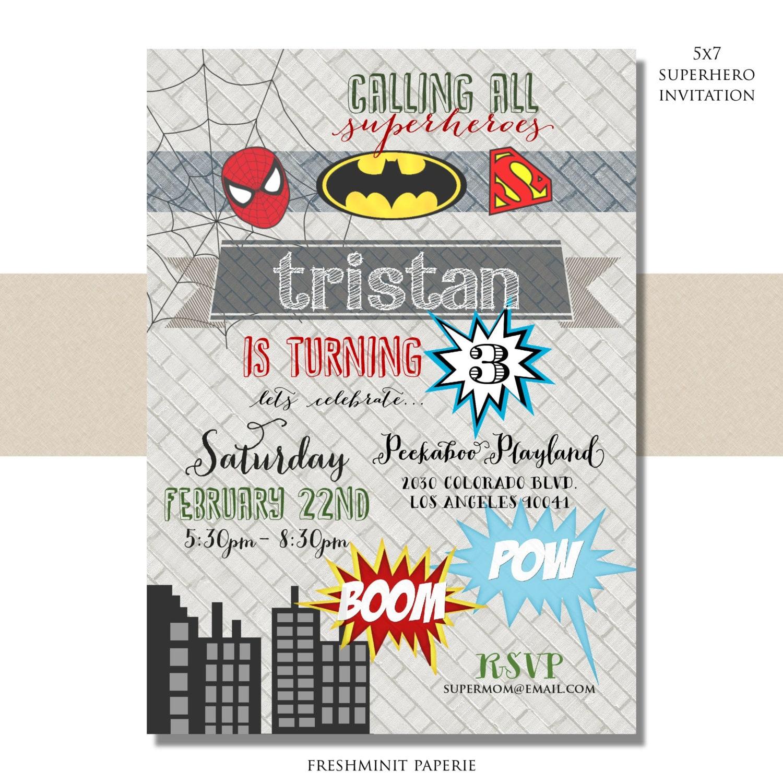 Superhero birthday invitation - superhero invitation - superhero ...