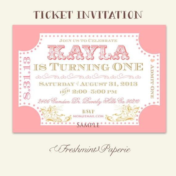 Printable invitations - carnival invitations - circus invitations - ticket invitations - Freshmint Paperie