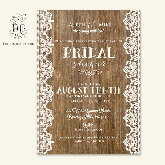 bridal shower Invitation - rustic invitation -  printable invitation - calligraphy invitation - wood invitation