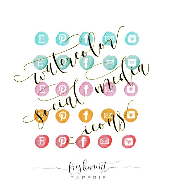 watercolor social media icons - watercolor icons - watercolor blog buttons - watercolor - logo - watercolor paint - freshmint paperie