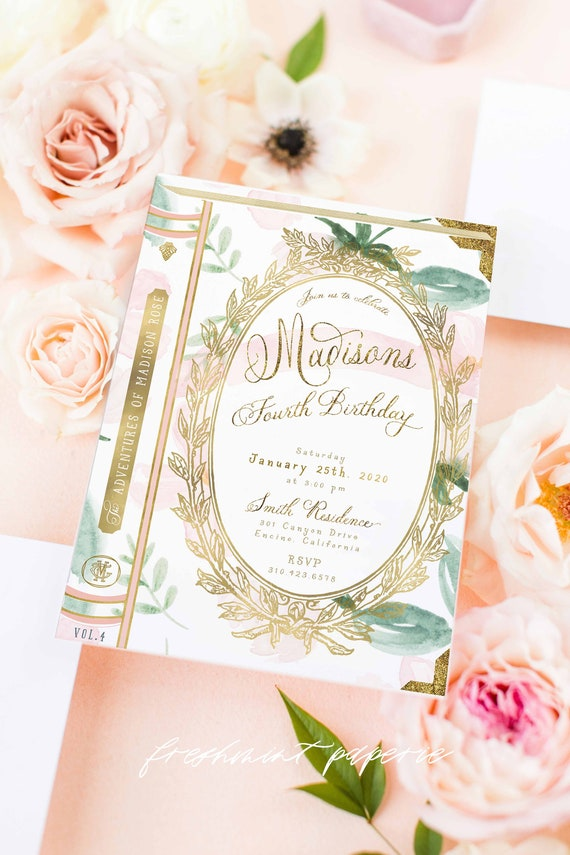 Storybook invitation | library invitation | Laduree birthday invitation | Girly invitation | Book invitation | Floral book | storybook