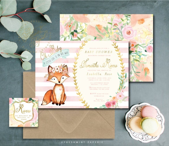 Woodland baby shower invitation - woodland invitation - baby shower invitation -  watercolor floral Invitation - fox invitation - fox invite