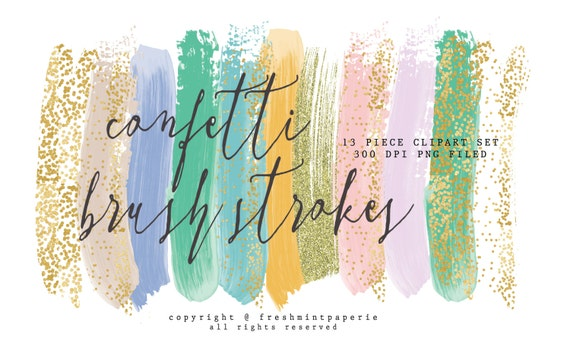 acrylic brush strokes clipart - gold brush clipart - paint clipart - ink strokes clipart - CONFETTI clipart - freshmint paperie