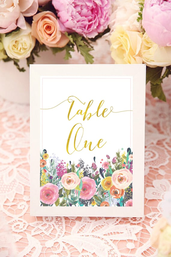 printable calligraphy table numbers - floral table numbers - calligraphy table numbers - calligraphy - freshmint paperie