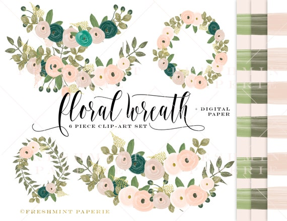watercolor floral wreath clipart - jewel tone flowers clipart - clipart - watercolor clipart - watercolor leaf clipart - freshmint paperie