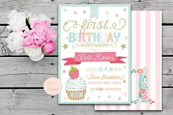 Printable invitations - confetti invitation - first birthday invitation - calligraphy - kids birthday invitation - cupcake invitation