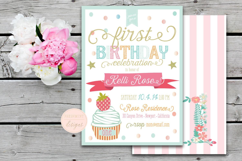 Printable invitations - confetti invitation - first birthday ...