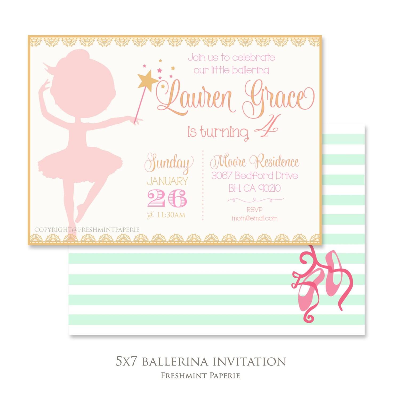 Ballerina birthday invitation - ballerina invitation - ballet ...