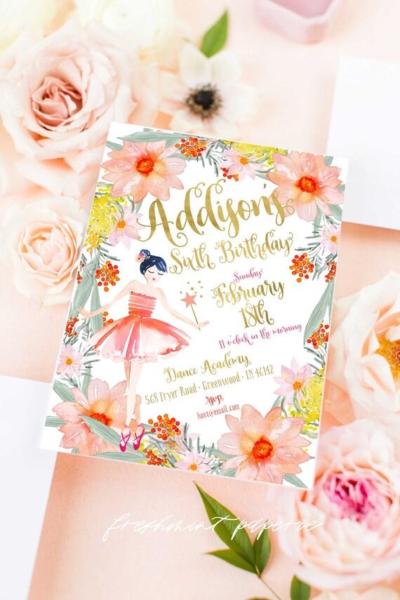 Ballerina invitation | ballet invitation | floral ballerina | pretty ballerina | girls invitation | Fairy invitation | Fairy Birthday party