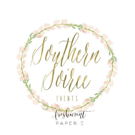 Custom pre-made logo - logo design - calligraphy logo - floral wreath logo - gold logo - watercolor logo - freshmint paperie