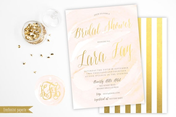 Printable invitations - bridal shower invitation - watercolor and gold invitation - calligraphy - blush gold invitation - freshmint paperie