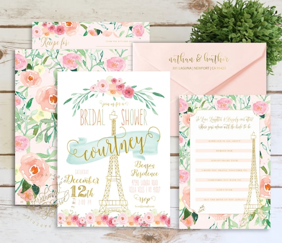 Printable invitations - floral paris - bridal shower invitation - eiffel tower invitation - baby shower - watercolor - freshmint paperie