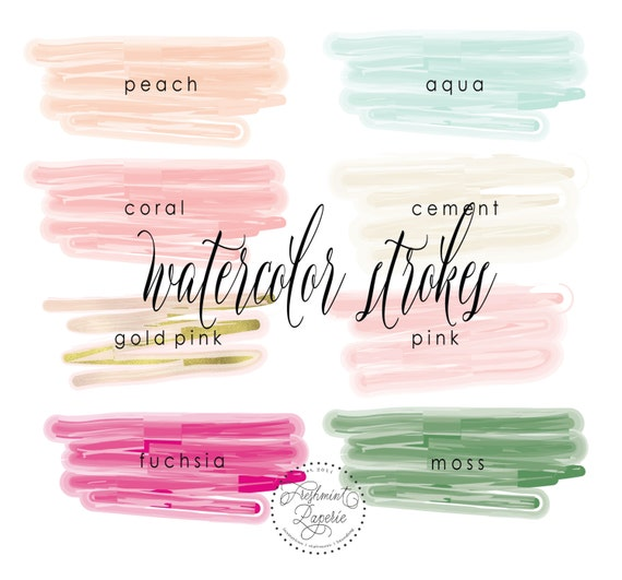 watercolor clipart - watercolor paint strokes - watercolor paint - watercolor - logo - watercolor paint - freshmint paperie