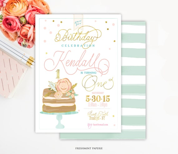 Printable invitations - first birthday - watercolor naked cake invitation - confetti invitation - calligraphy - freshmint paperie