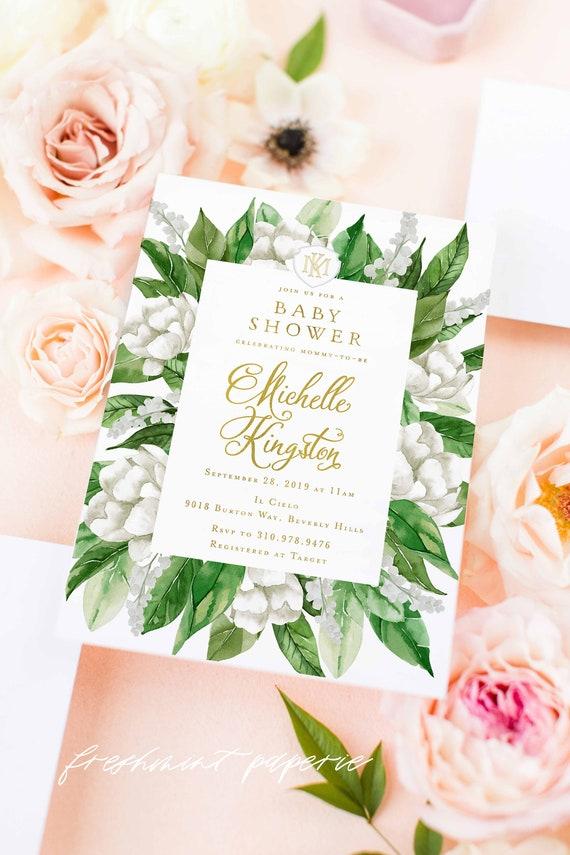 White floral invitation - Gardenia invitation - baby Shower invitation - Leaf invitation - Gardenia invite - freshmint paperie