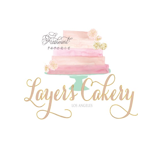 bakery logo - cake logo -  logo design  - calligraphy logo - business logo - business card - watercolor - freshmint paperie