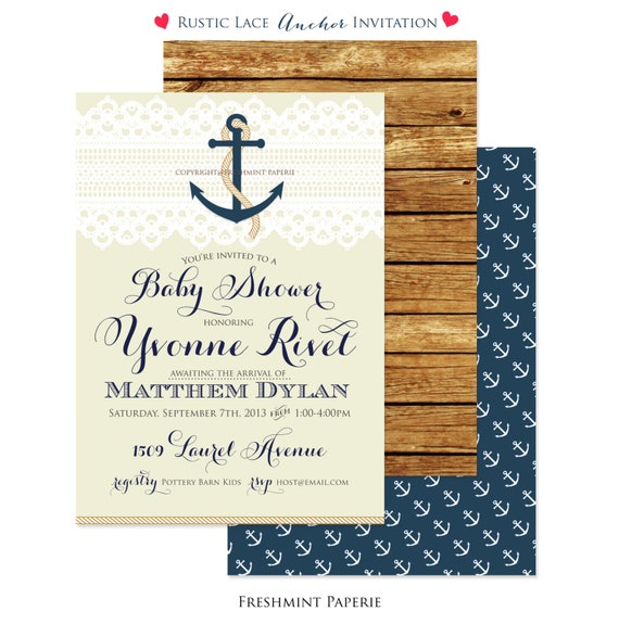 Nautical invitation - nautical baby shower invitation - lace invitation - calligraphy - anchor invitation - freshmint paperie
