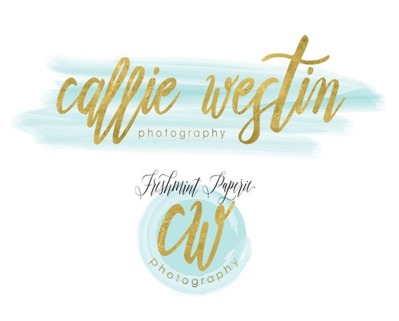 Custom pre-made logo - logo design - calligraphy logo - logo - aqua watercolor logo - gold foil logo - freshmint paperie