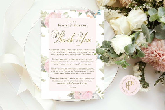 Thank you cards - Custom cards - calligraphy cards  - pretty cards - Stationery - Thank you menu card for baptism