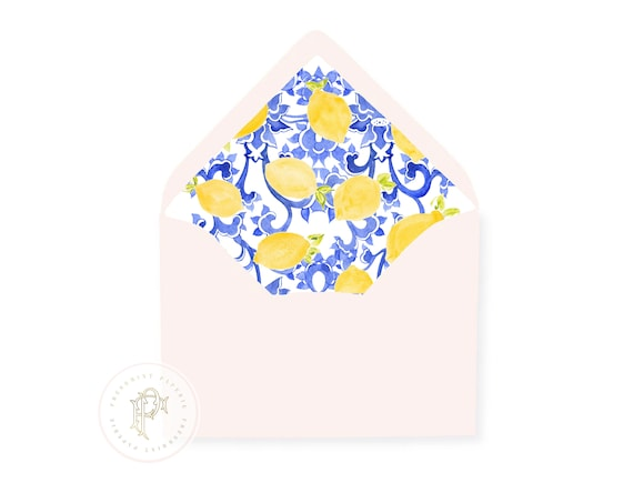 20 Pack with Envelopes, Citrus Blue Envelope Liners, envelope liners, lemon envelope liners