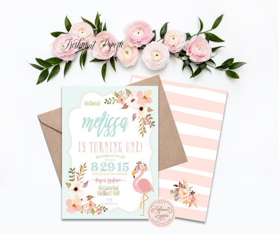 Flamingo invitations - flamingo birthday invitation - birthday invitation - pink flamingo invitation - floral flamingo - freshmint paperie