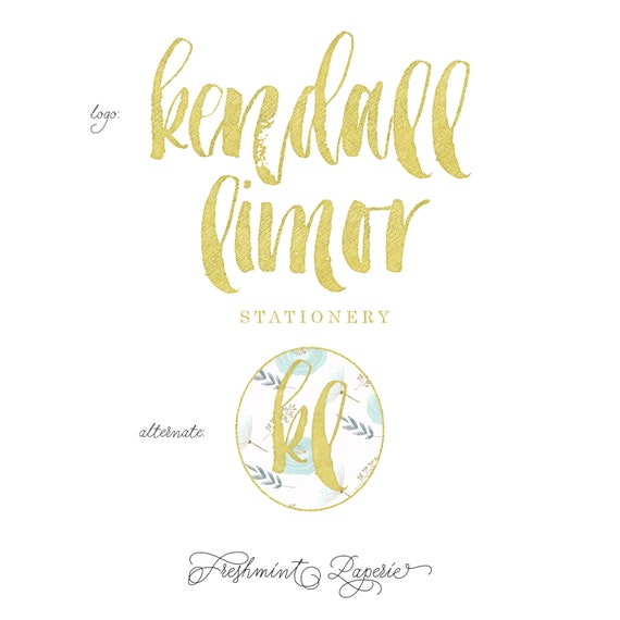 Custom pre-made logo -  logo design  - calligraphy logo - logo - gold foil logo - brush script logo -  freshmint paperie