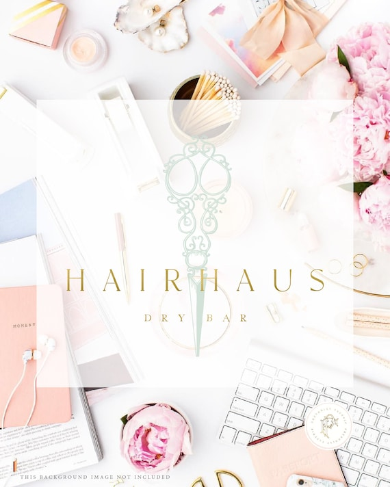 Hair Salon logo - Blow Bar design - Blowdry logo - Blow dryer - Hair logo - Salon logo - Scissor Logo - freshmint paperie