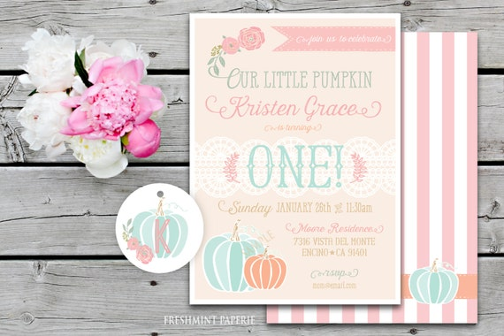 Printable invitations - pumpkin invitation - little pumpkin invitation - calligraphy - birthday invitation - freshmintpaperie