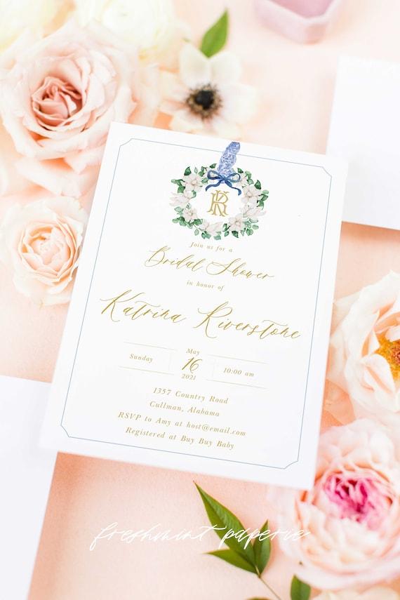 Monogram Baby Shower Invitation, Magnolia baby shower invitation, wreath ribbon invitation, Chinoiserie baby shower invitation