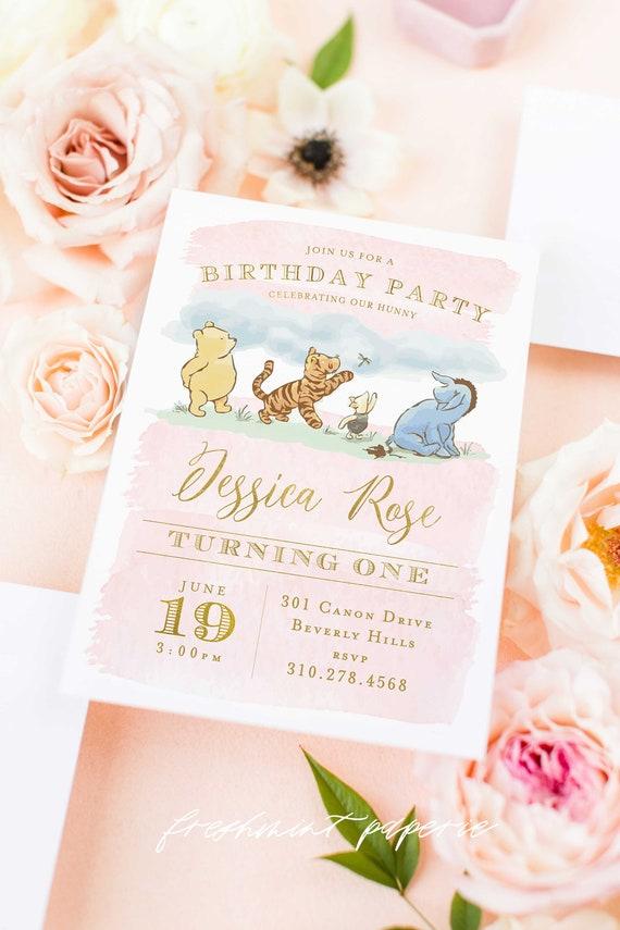 Pooh Birthday invitation, Classic Winnie the Pooh invitation, Vintage Winnie the Pooh Invitation, Pink Winnie the Pooh Invite, watercolor