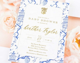 Chinoiserie invitation - Monogram invitation - Ginger Jar Invitation - Chinoiserie invitation - Baby Shower Invitation