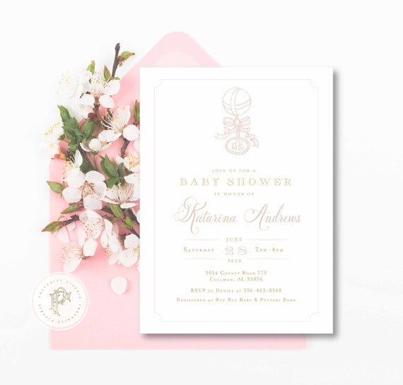Monogram Baby Shower Invitation - baby shower invitation - baby shower invitation - Baby Rattle invitation - Pink baby shower