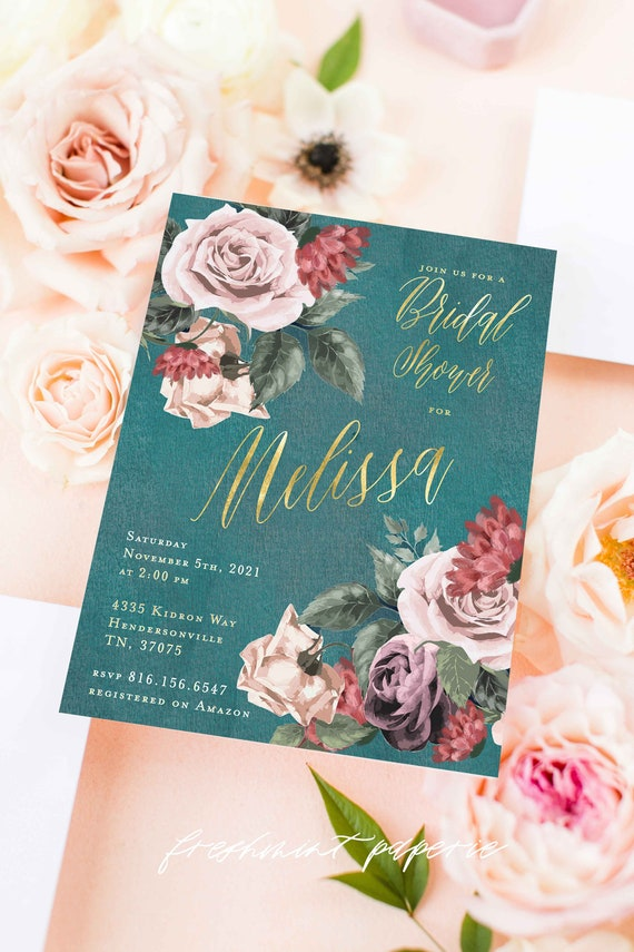 Teal Floral invitation Teal Watercolor invitation bridal shower invitation baby shower invitation - freshmint paperie
