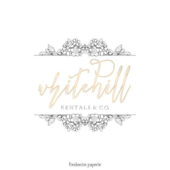 Pretty logo -  lace logo design  - modern calligraphy logo - gold logo - interior designer logo - flower shop logo - freshmint paperie