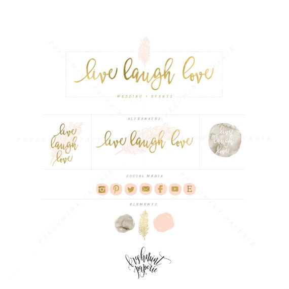 style 305 - blush and gold watercolor logo - feather logo - calligraphy logo - watercolor logo - quill pen logo - freshmint paperie