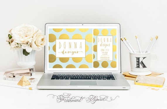 Custom pre-made logo - gold foil logo - calligraphy logo - business logo - business card - freshmint paperie