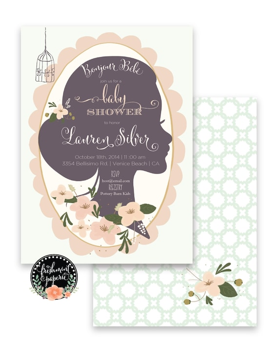 baby shower invitation - flower invitation - calligraphy - bonjour bebe invitation - freshmint paperie
