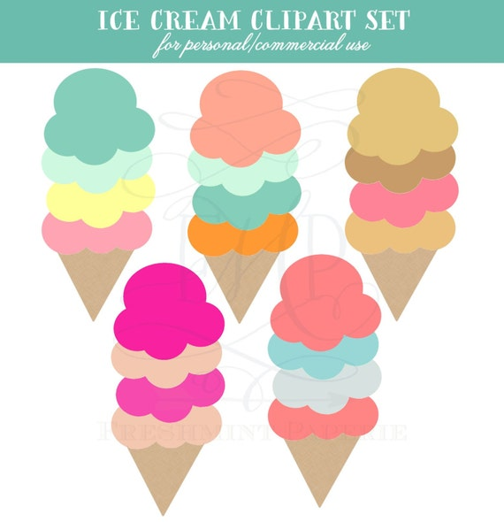 Ice Cream Clipart Set -  PNG File Commercial and Personal Use Digital Scrapbook Graphics
