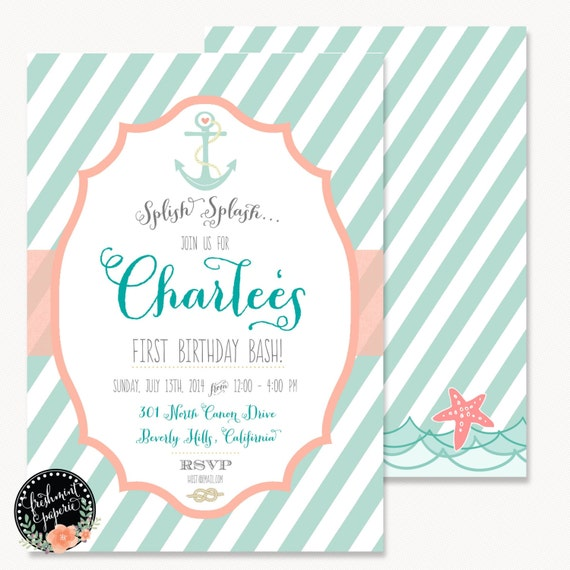 Printable invitations - nautical invitation -anchor invitation - calligraphy - bridal shower invitation - freshmint paperie