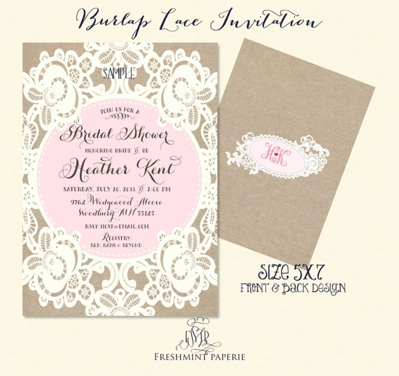 bridal shower Invitation - burlap lace invitation -  printable invitation - calligraphy invitation