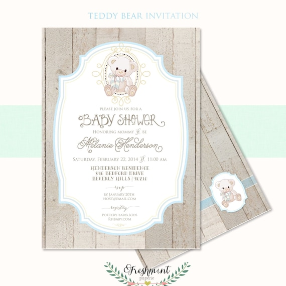 Printable invitations - baby shower invitation - teddy bear invitation - rustic invitation - Freshmint Paperie