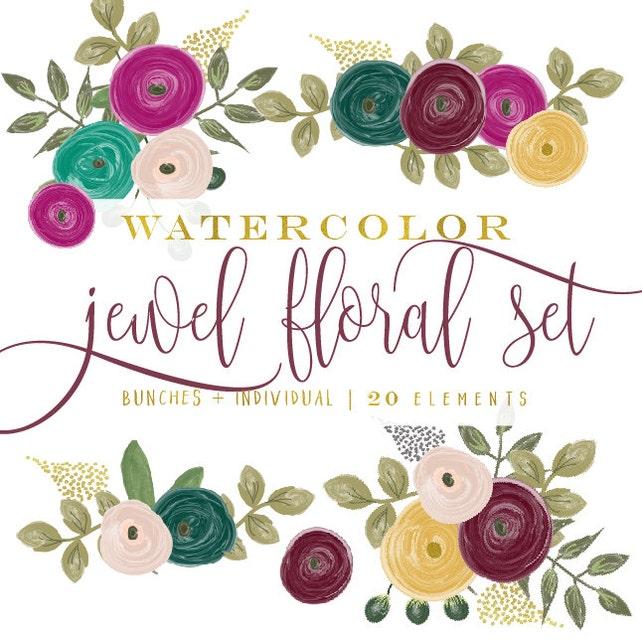watercolor floral clipart - jewel tone flowers clipart - clipart - watercolor clipart - watercolor leaf clipart - freshmint paperie