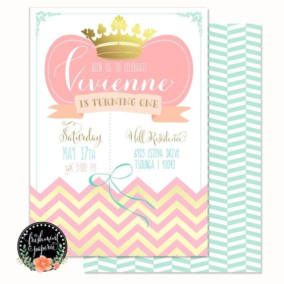 Printable invitations - birthday invitation - crown invitation - chevron invitation - Freshmint Paperie