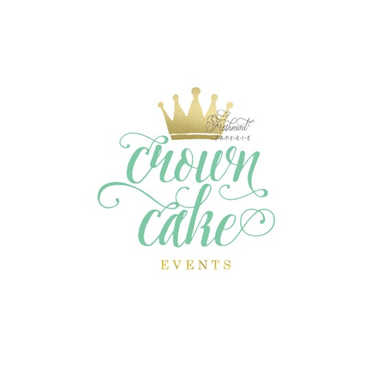 Custom logo - crown logo  - calligraphy logo - business logo - mint and gold logo -  freshmint paperie