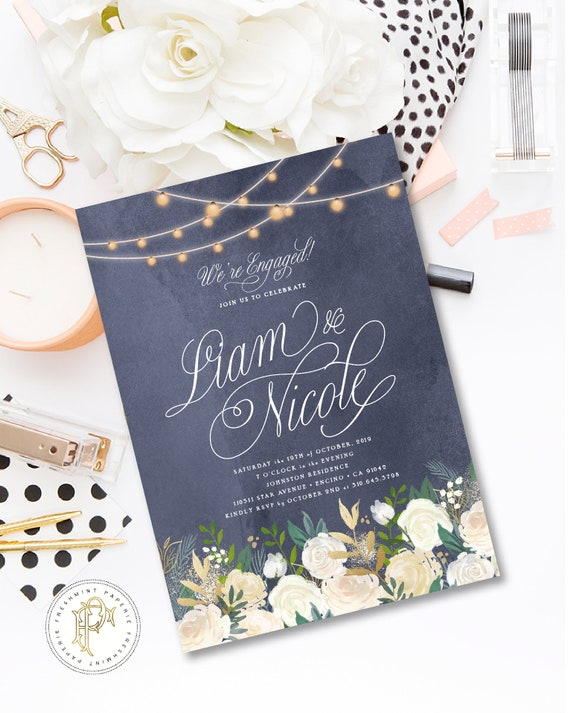 Engagement Invitation - Watercolor Floral invitation - Chalkboard Invitation - Bridal Shower invitation - Engagement party invitation