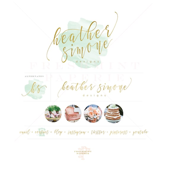 mint watercolor logo - watercolor logo design - watercolor logo - gold calligraphy logo - freshmint paperie