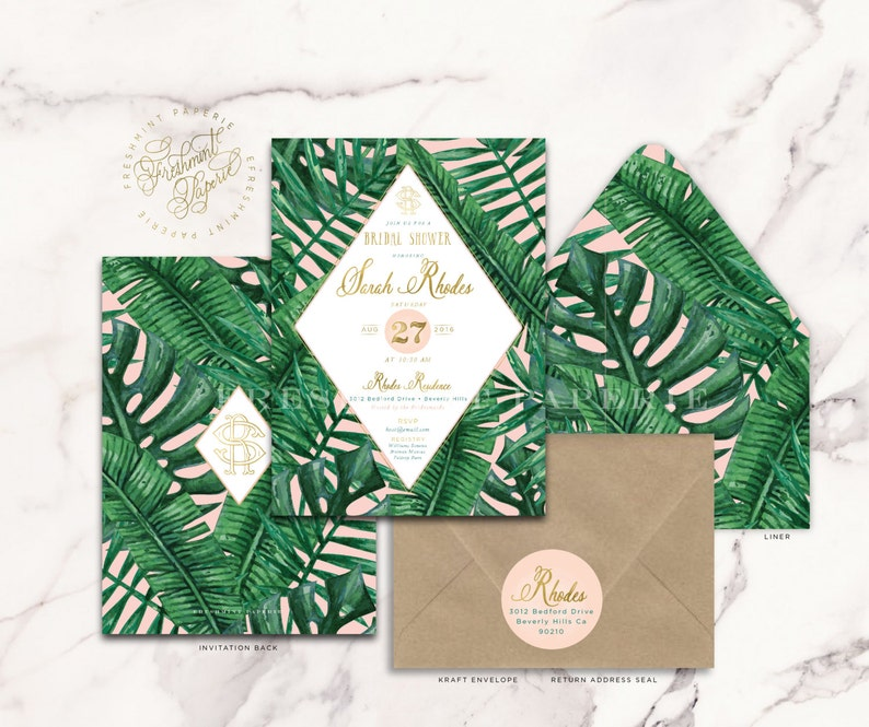 freshmint paperie banana leaf invitation Tropical invitation palm tree invitation bridal shower invitation baby shower