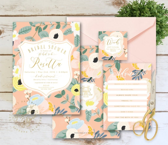 Printable invitations - bridal shower invitation - peach floral invitation - watercolor floral invitation -  invitation - freshmint paperie
