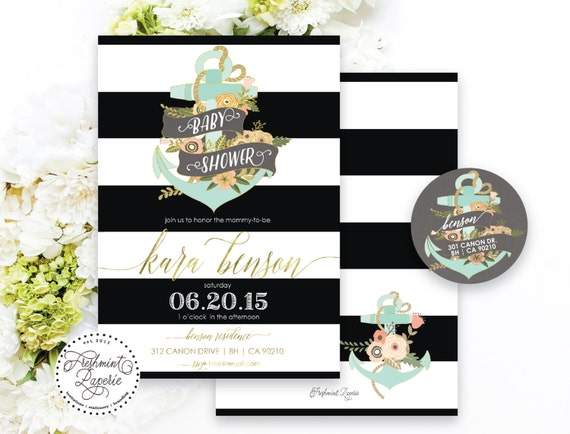 Nautical baby shower invitation - anchor invitation - nautical invitation - calligraphy - floral anchor - freshmint paperie